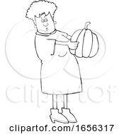 Cartoon Black And White Woman Holding And Looking At A Pumpkin