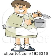 Cartoon Happy Caucasian Woman Holding A Spoon And Soup Pot