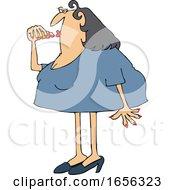 Cartoon Chubby Caucasian Woman Applying Lipstick