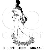 Poster, Art Print Of Bride Silhouette With Wedding Bouquet