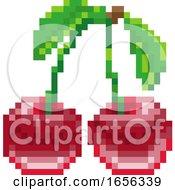 Cherry Pixel Art 8 Bit Video Game Fruit Icon by AtStockIllustration