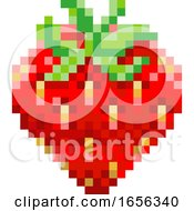 Strawberry Pixel Art 8 Bit Video Game Fruit Icon