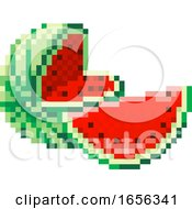 Watermelon Pixel Art 8 Bit Video Game Fruit Icon by AtStockIllustration