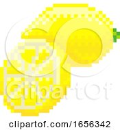 Lemon Pixel Art 8 Bit Video Game Fruit Icon by AtStockIllustration