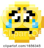 Poster, Art Print Of Emoticon Face Pixel Art 8 Bit Video Game Icon