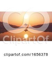 3D Tree Against Sunset Sky