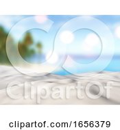 3D Close Up Of Sand Against A Defocussed Palm Tree Island Landscape