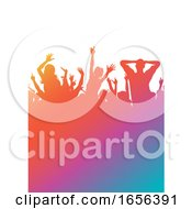 Poster, Art Print Of Colourful Gradient Party Audience Silhouette