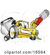Clipart Picture Of A Yellow Lawn Mower Mascot Cartoon Character Holding Up A Saw by Toons4Biz
