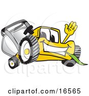 Yellow Lawn Mower Mascot Cartoon Character Waving And Eating Grass