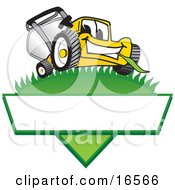 Clipart Picture Of A Yellow Lawn Mower Mascot Cartoon Character On A Triangle Logo With A White Label by Toons4Biz #COLLC16566-0015