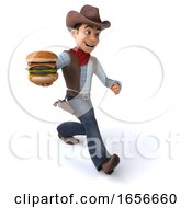3d Western Cowboy On A White Background