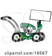 Green Lawn Mower Mascot Cartoon Character Holding A Blank Sign
