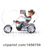 Poster, Art Print Of 3d Western Cowboy On A White Background