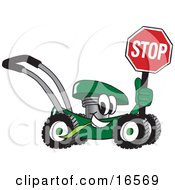 Clipart Picture Of A Green Lawn Mower Mascot Cartoon Character Passing By And Holding A Stop Sign by Toons4Biz