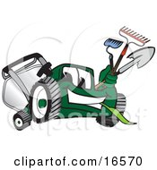 Green Lawn Mower Mascot Cartoon Character Carrying Garden Tools