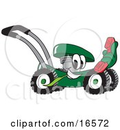 Green Lawn Mower Mascot Cartoon Character Passing By And Holding Out A Red Telephone