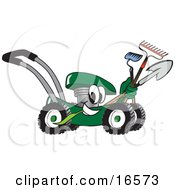 Clipart Picture Of A Green Lawn Mower Mascot Cartoon Character Passing By While Carrying Garden Tools