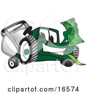 Green Lawn Mower Mascot Cartoon Character Waving A Dollar Bill