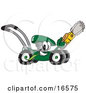 Green Lawn Mower Mascot Cartoon Character Passing By With A Saw