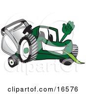 Green Lawn Mower Mascot Cartoon Character Waving Hello