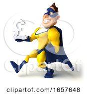 3d Buff White Male Yellow And Blue Super Hero On A White Background