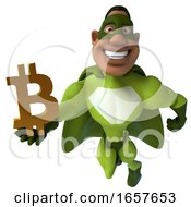 3d Buff Black Male Green Super Hero Holding A Bitcoin Symbol On A White Background
