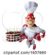 3d White Male Super Chef In A Red And White Costume Holding A Birthday Cake On A White Background