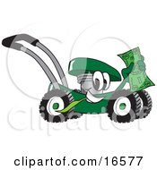 Clipart Picture Of A Green Lawn Mower Mascot Cartoon Character Passing By And Waving A Dollar Bill by Toons4Biz