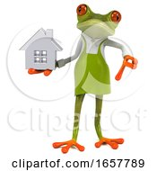 3d Green Springer Frog Gardener On A White Background