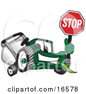 Green Lawn Mower Mascot Cartoon Character Holding Up A Stop Sign