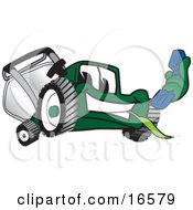 Green Lawn Mower Mascot Cartoon Character Holding Out A Blue Telephone
