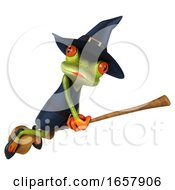 Poster, Art Print Of 3d Witch Frog On A White Background