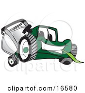 Green Lawn Mower Mascot Cartoon Character Facing Front And Eating Grass