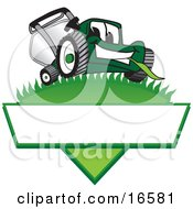 Clipart Picture Of A Green Lawn Mower Mascot Cartoon Character On A Logo by Toons4Biz