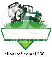 Green Lawn Mower Mascot Cartoon Character On A Logo