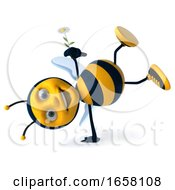 3d Male Bee With A Flower On A White Background