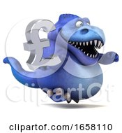 3d Blue T Rex Dinosaur Holding A Pound Currency Symbol On A White Background