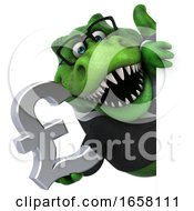 3d Green Business T Rex Dinosaur Holding A Pound Currency Symbol On A White Background