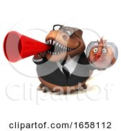 3d Brown Business T Rex Dinosaur On A White Background