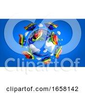 3d Rainbow Flag Planes Around Earth