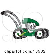 Green Lawn Mower Mascot Cartoon Character Passing By And Eating Grass