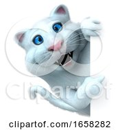 3d White Kitty Cat On A White Background