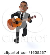 3d Black Business Man On A White Background