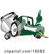 Green Lawn Mower Mascot Cartoon Character Facing Front And Pointing Up by Toons4Biz