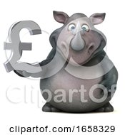 Poster, Art Print Of 3d Rhinoceros Holding A Lira On A White Background