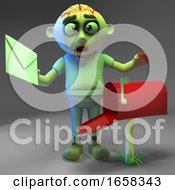 Poster, Art Print Of Cartoon Zombie Monster Checks His Mailbox For Mail