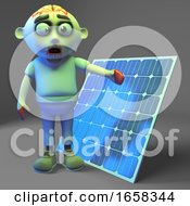 Poster, Art Print Of Zombie Monster Has Gone Green With A Solar Panel