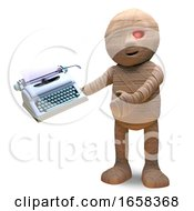 Literary Fan Egyptian Mummy Monster Uses A Tyepwriter For His Memoirs