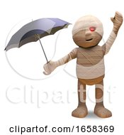 When Its Raining Egyptian Mummy Monster Uses An Umbrella by Steve Young